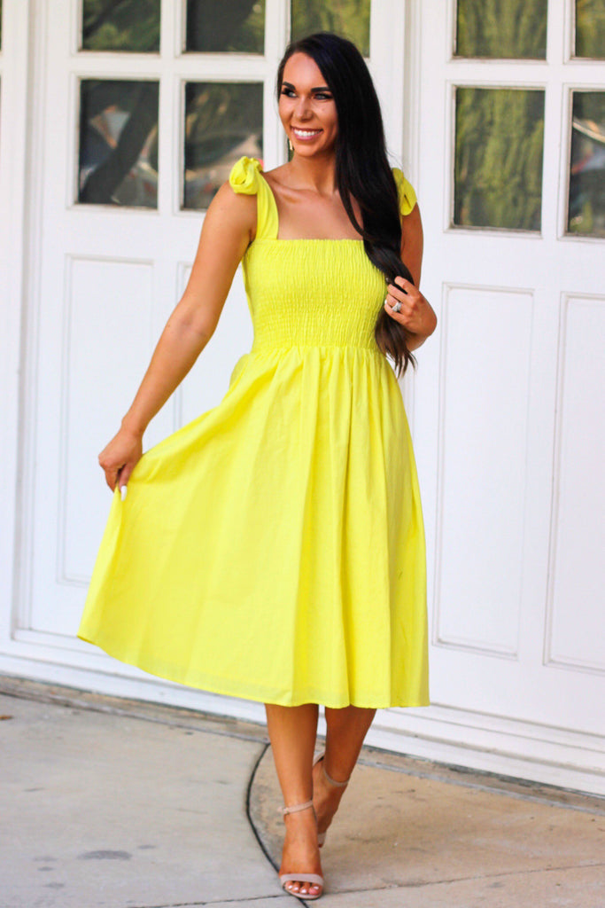Sweet and Simple Midi Dress: Pastel Yellow - Bella and Bloom Boutique