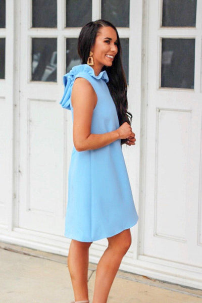 Southern Belle Dress: Light Blue - Bella and Bloom Boutique