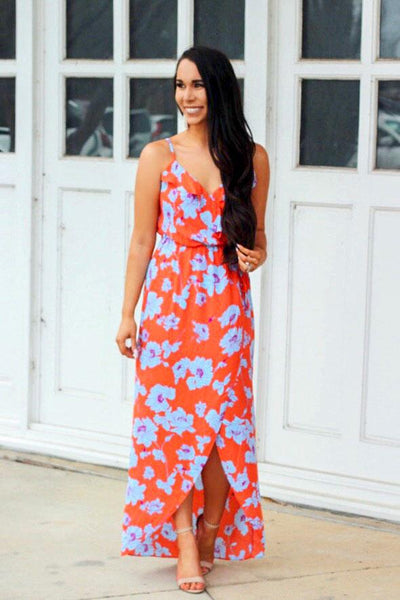 Wrapped Up in You Maxi Dress: Blue/Orange - Bella and Bloom Boutique
