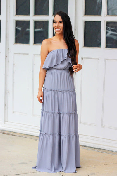 Juliana Maxi Dress: Dusty Blue - Bella and Bloom Boutique