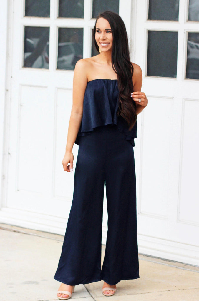 RESTOCK: Satin Chic Jumpsuit: Navy - Bella and Bloom Boutique