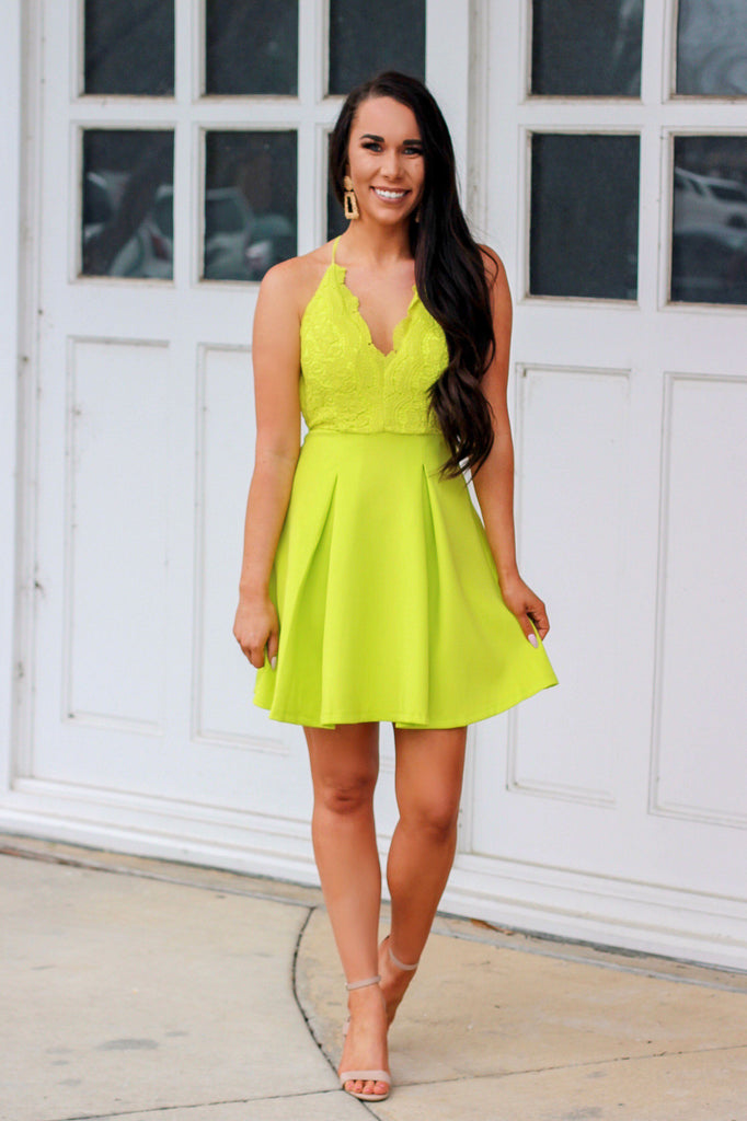 Adeline Dress: Lime - Bella and Bloom Boutique
