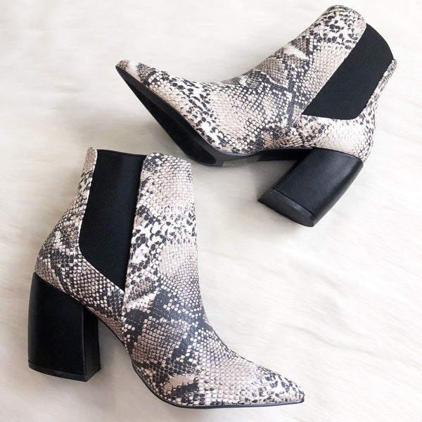 RESTOCK: Charlie Booties: Beige Python - Bella and Bloom Boutique