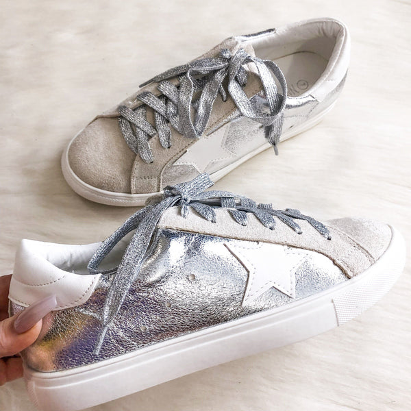 Star Sneakers: Silver - Bella and Bloom Boutique