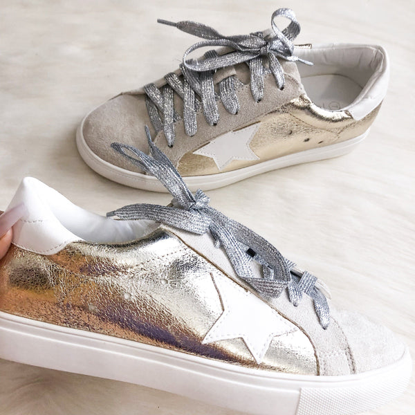 RESTOCK: Star Sneakers: Gold - Bella and Bloom Boutique