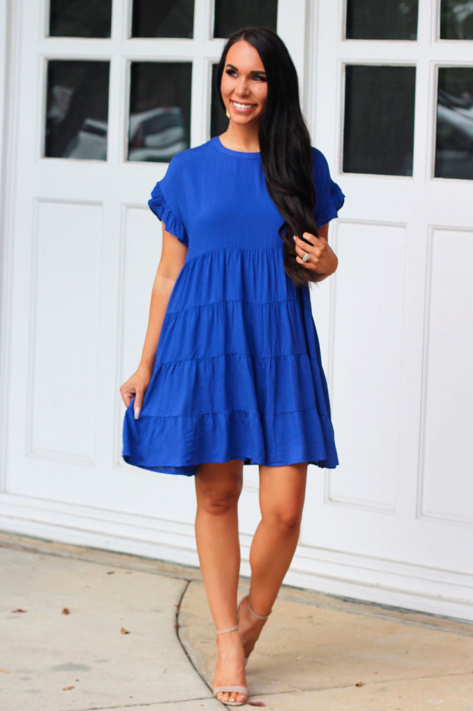 Swing My Way Dress: Royal Blue - Bella and Bloom Boutique