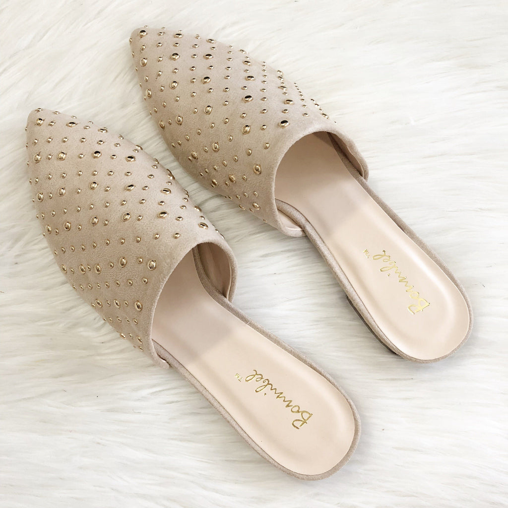 RESTOCK: Tayshia Studded Slides: Nude - Bella and Bloom Boutique