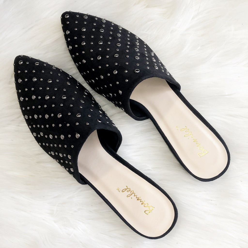 RESTOCK: Tayshia Studded Slides: Black - Bella and Bloom Boutique