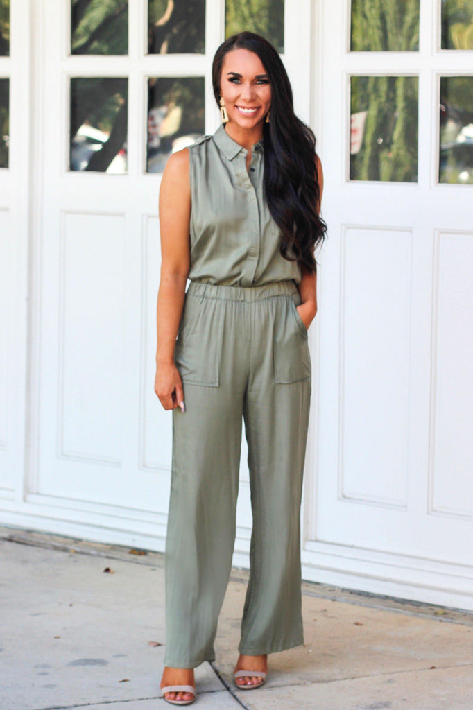 Utility Jumpsuit: Olive - Bella and Bloom Boutique