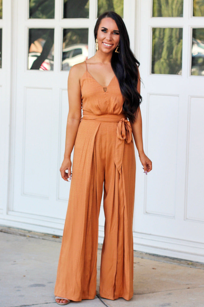 Change of Plans Jumpsuit: Tangerine - Bella and Bloom Boutique