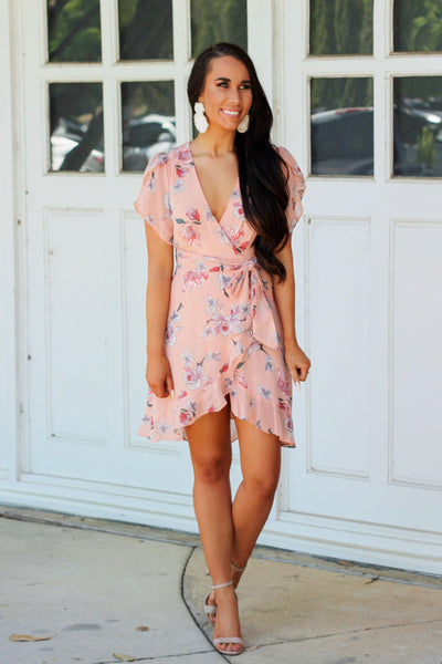 RESTOCK: Peachy Florals Dress: Peach - Bella and Bloom Boutique