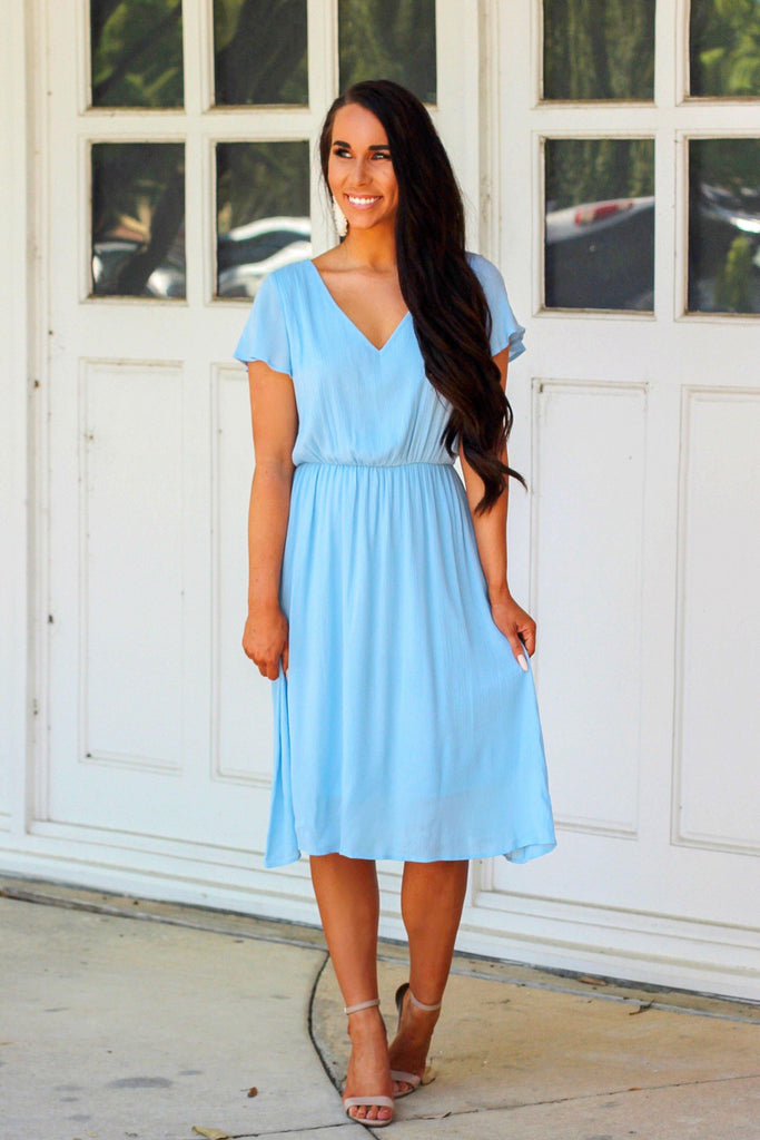 London's Calling Midi Dress: Light Blue - Bella and Bloom Boutique
