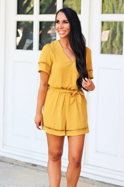 Fall Days Romper: Mustard - Bella and Bloom Boutique