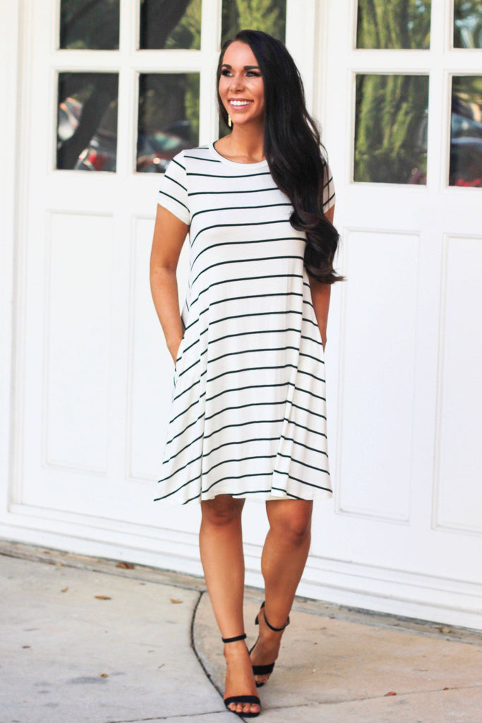 Casual Striped Dress: Ivory/Black - Bella and Bloom Boutique