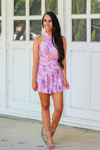 Petal Perfect Romper: Purple/Pink - Bella and Bloom Boutique