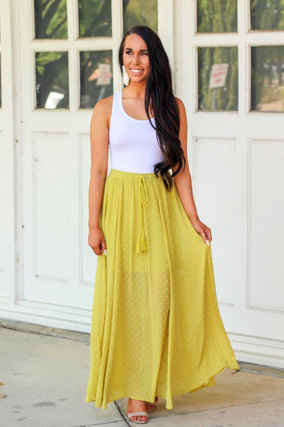 Swiss Dot Maxi Skirt: Lime - Bella and Bloom Boutique