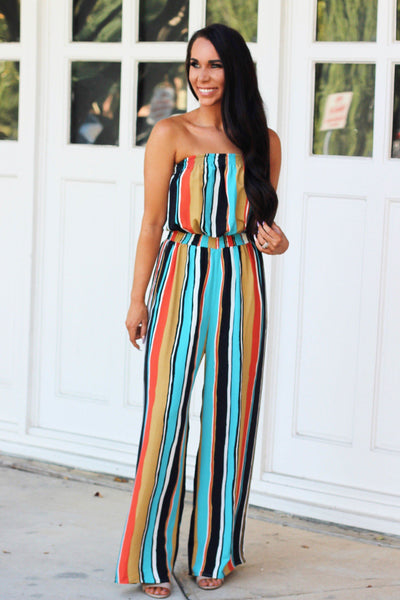 Fall Feels Jumpsuit: Multi - Bella and Bloom Boutique
