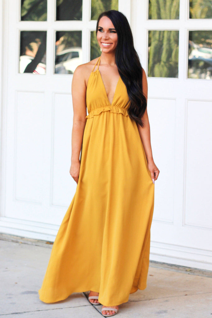 RESTOCK: Around Town Maxi Dress: Mustard - Bella and Bloom Boutique