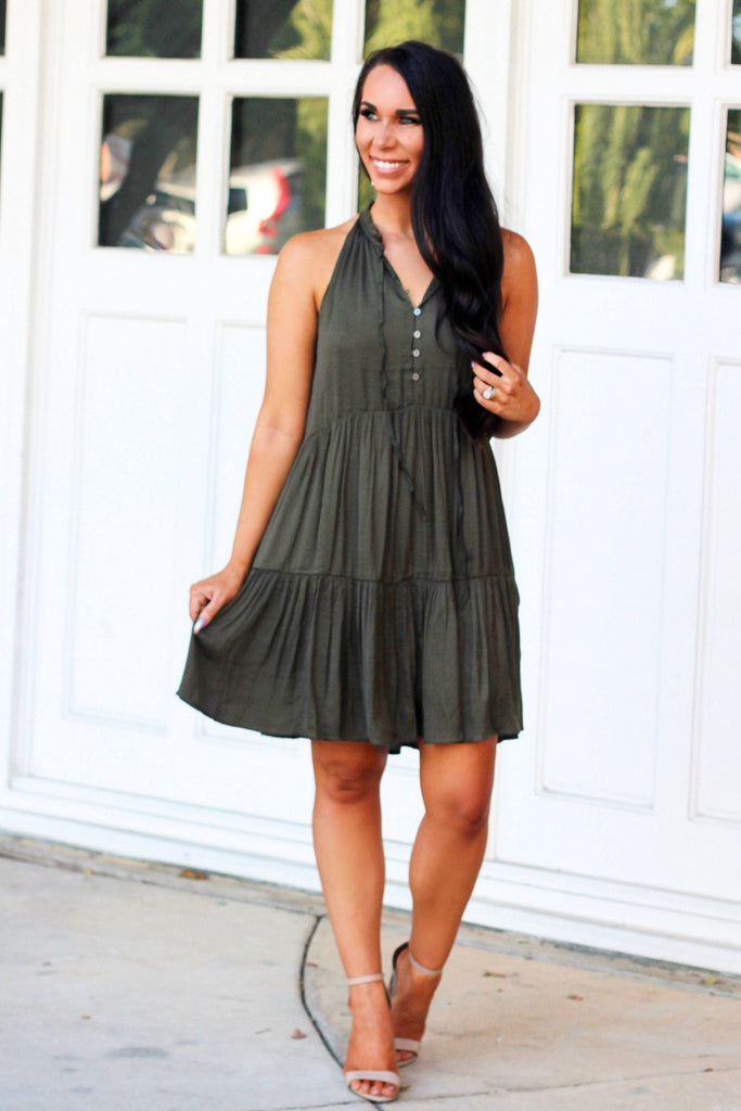 Never Enough Dress: Olive - Bella and Bloom Boutique