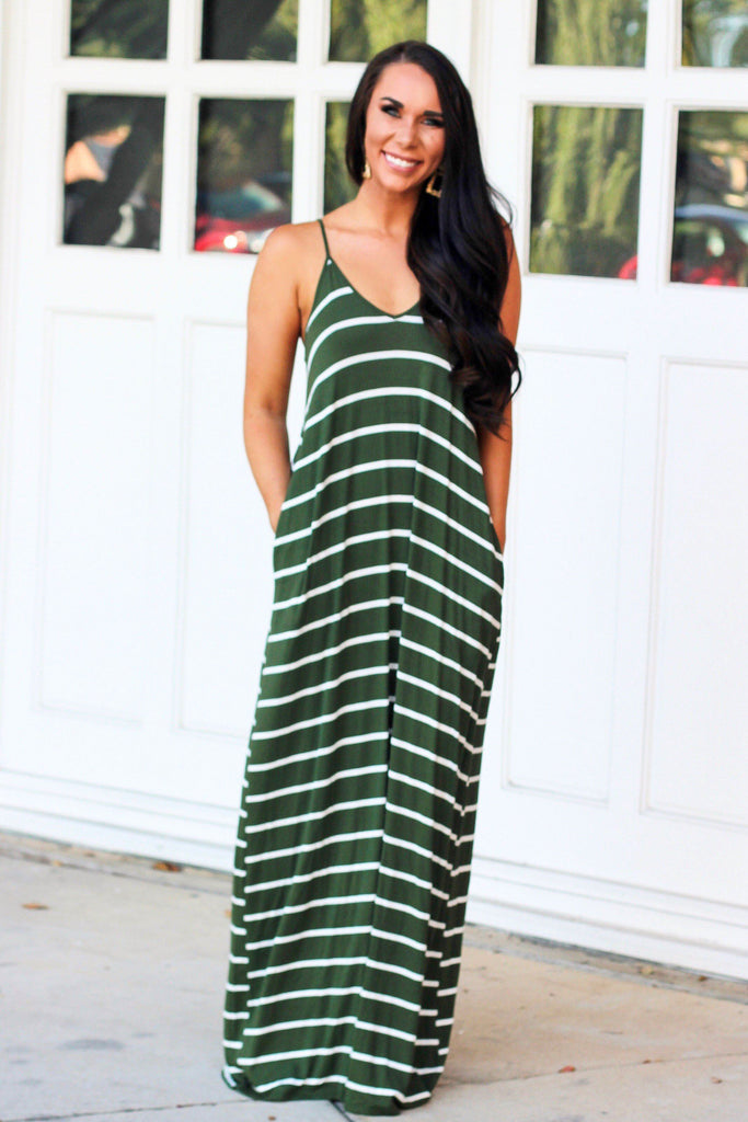 Just the Girl Next Door Maxi Dress: Olive/White - Bella and Bloom Boutique