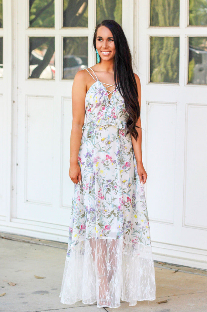 Blooming Florals Maxi Dress: White Multi - Bella and Bloom Boutique