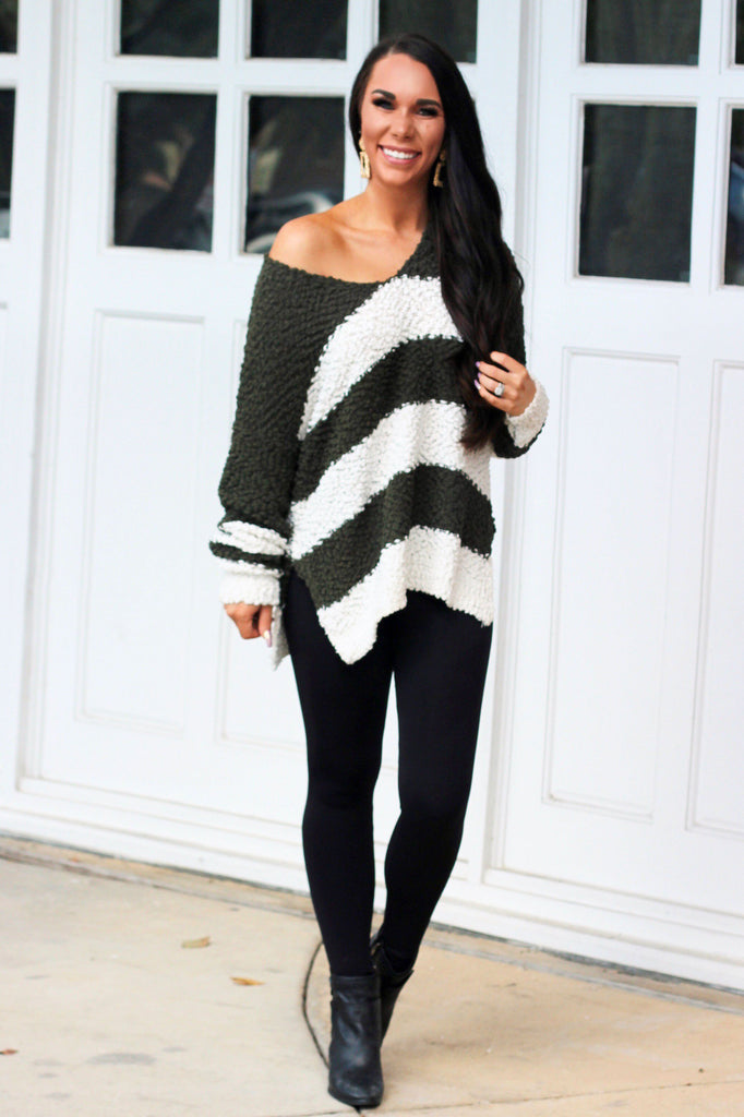 RESTOCK: Cozy Winter Popcorn Sweater: Olive/Ivory - Bella and Bloom Boutique
