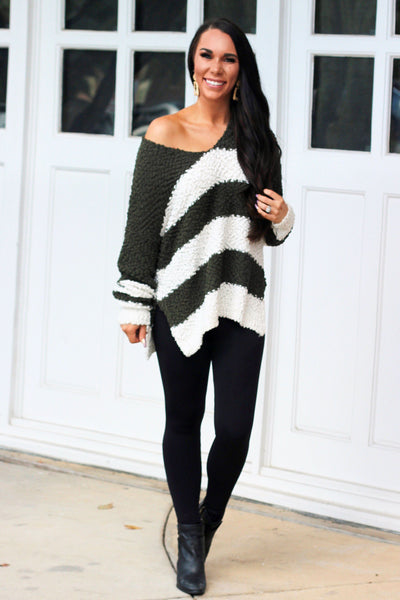 Cozy Winter Popcorn Sweater: Olive/Ivory - Bella and Bloom Boutique