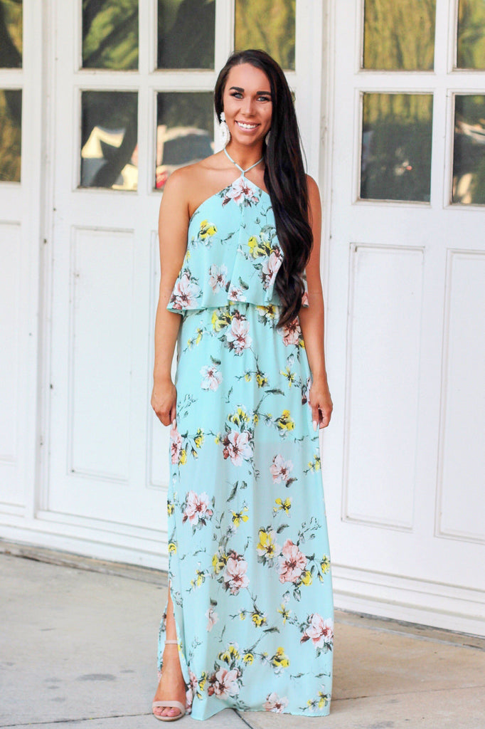 Floral Fantasy Maxi Dress: Light Blue - Bella and Bloom Boutique