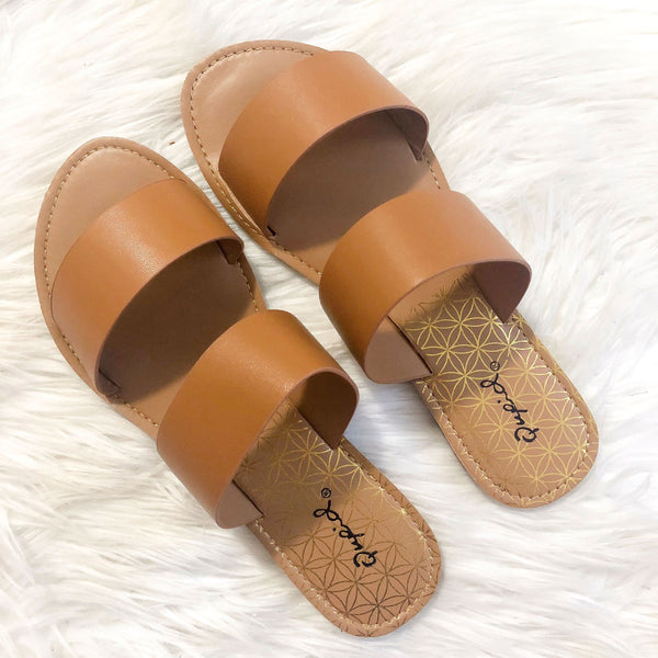 Mia Double Strap Sandals: Camel - Bella and Bloom Boutique