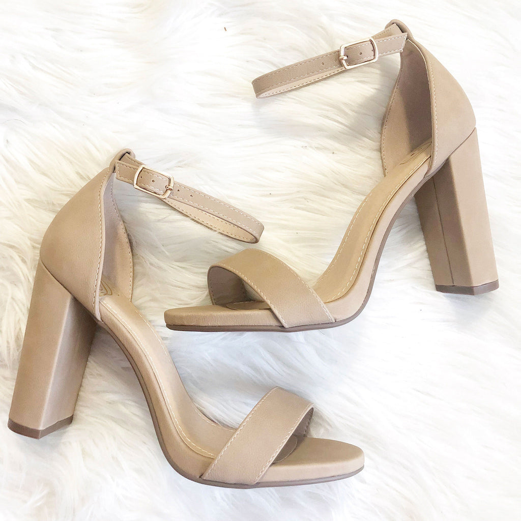 Kaela Block Heels: Nude - Bella and Bloom Boutique