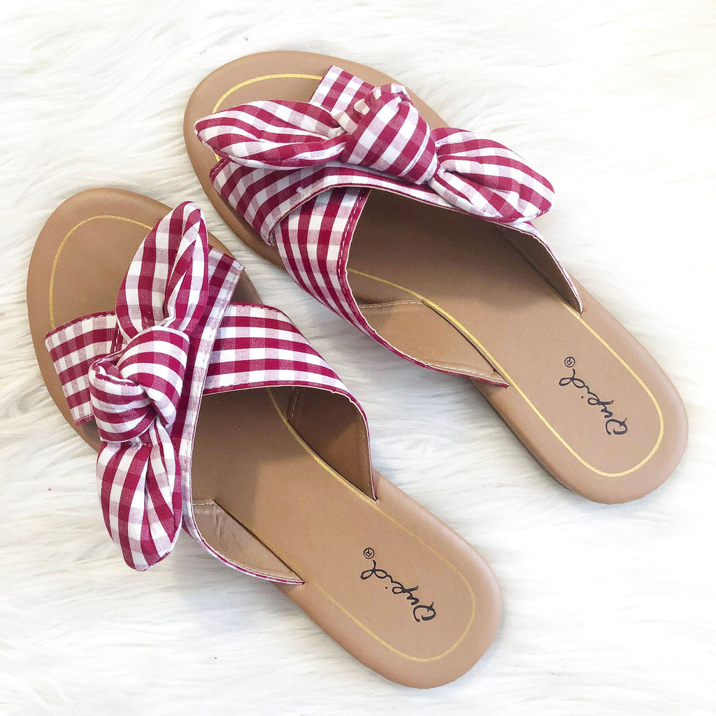 RESTOCK: Berkley Knot Sandals: Red/White - Bella and Bloom Boutique
