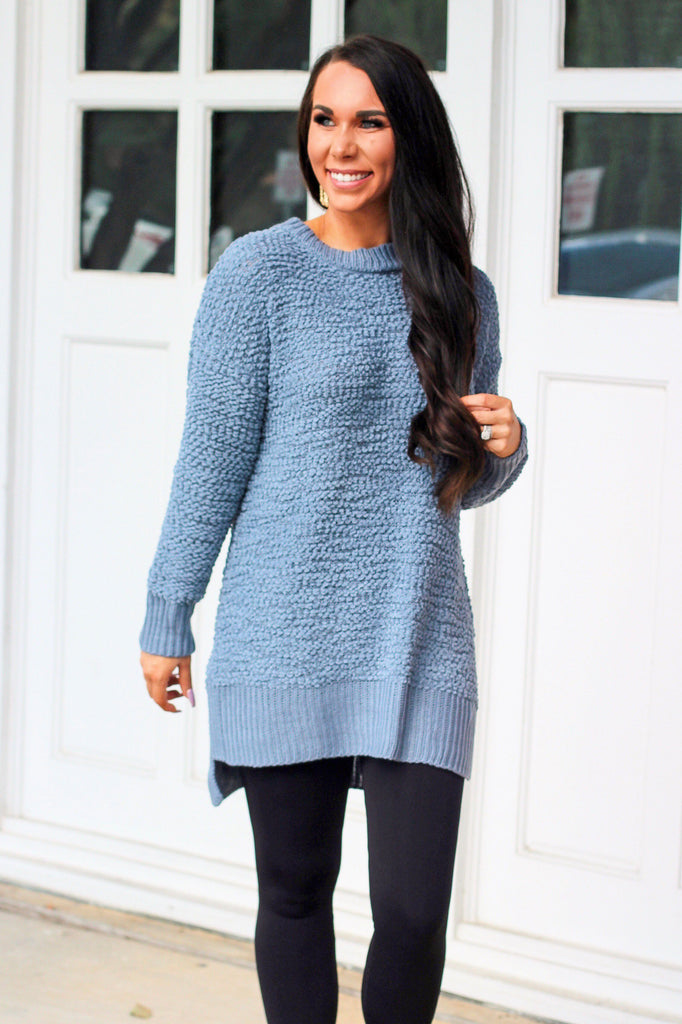 Falling Leaves Popcorn Sweater: Dusty Blue - Bella and Bloom Boutique