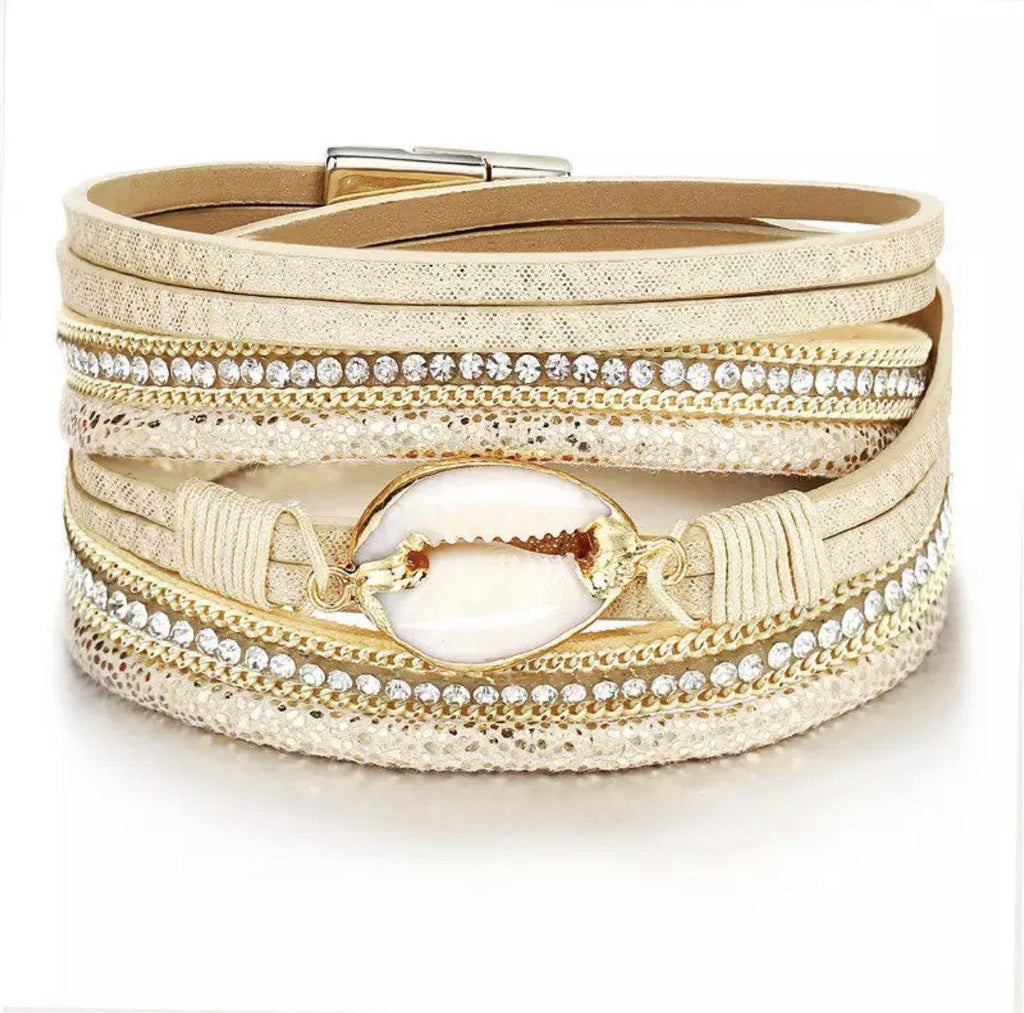 Shell Wrap Bracelet: Gold - Bella and Bloom Boutique