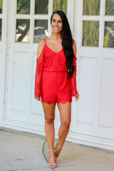 Summer Date Night Romper: Tomato - Bella and Bloom Boutique