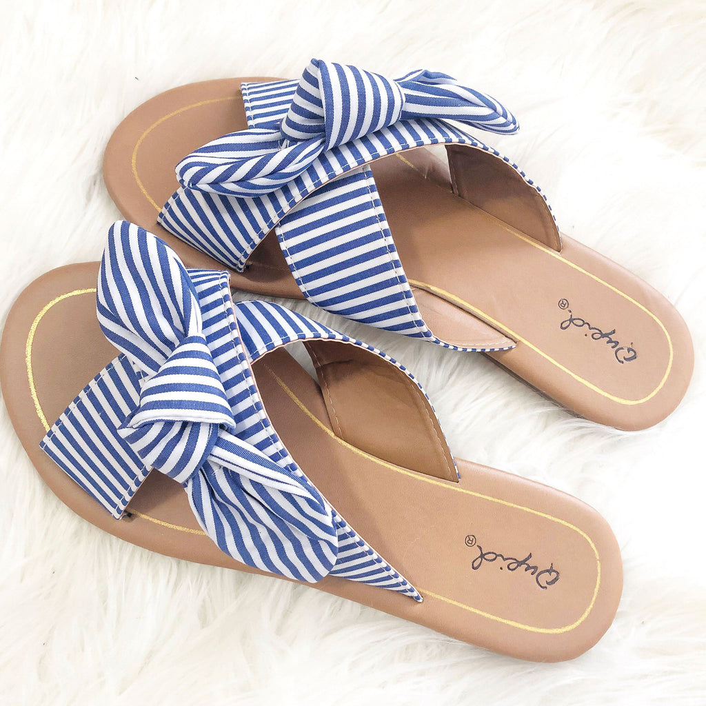 Berkley Knot Sandals: Blue/White - Bella and Bloom Boutique