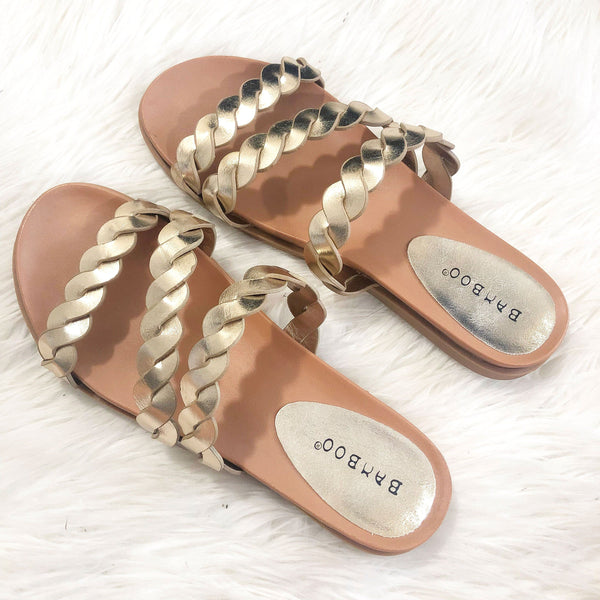 Callia Braided Sandals: Gold - Bella and Bloom Boutique