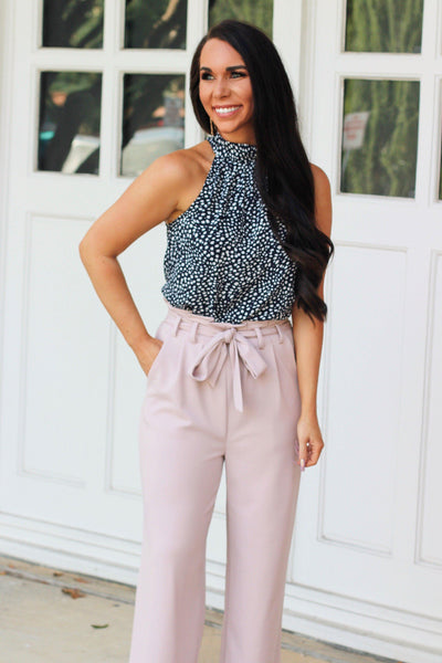 Spotted Chic Top: Navy - Bella and Bloom Boutique