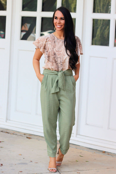 Clear to Me Pants: Sage - Bella and Bloom Boutique