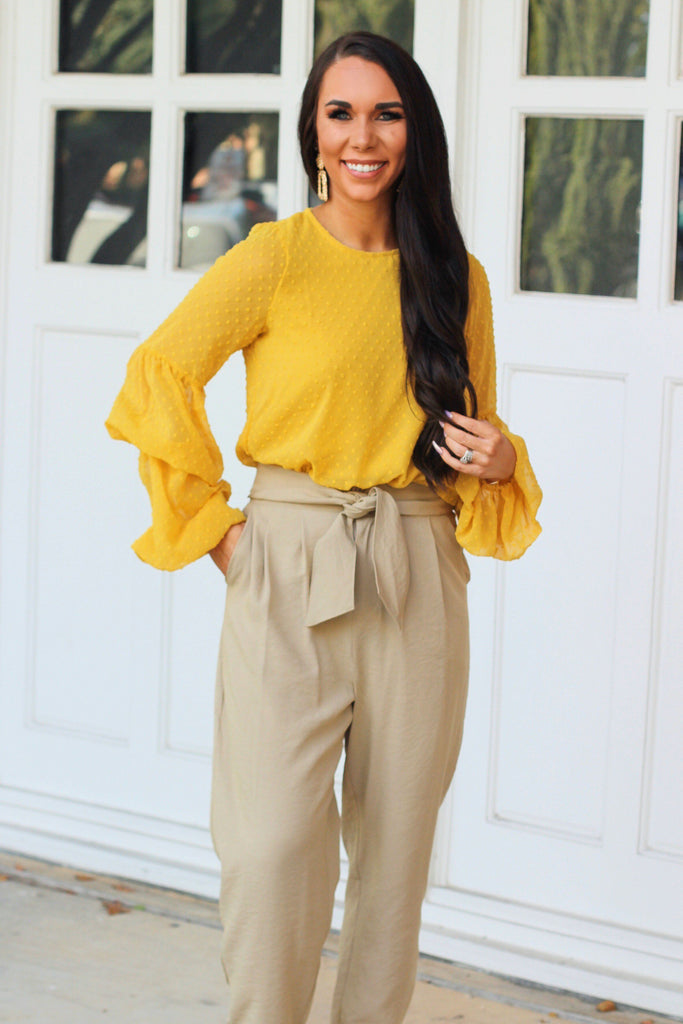 Swiss Dot Top: Mustard - Bella and Bloom Boutique
