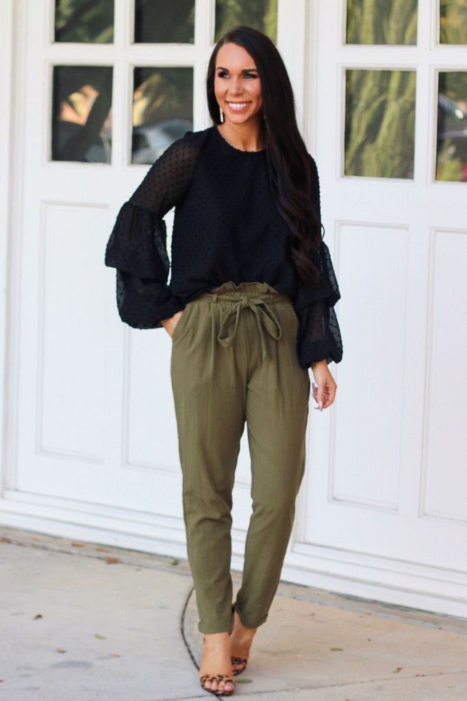 Run the Show Pants: Olive - Bella and Bloom Boutique