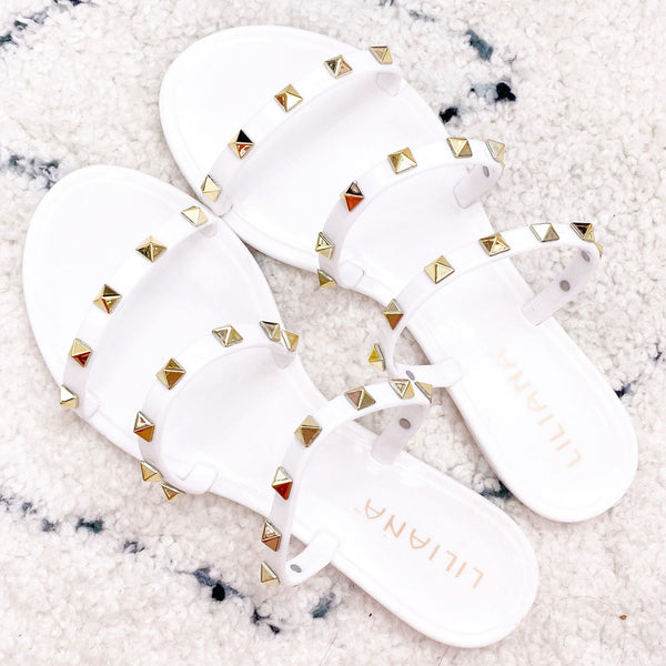Veronica Studded Jelly Sandals: White - Bella and Bloom Boutique