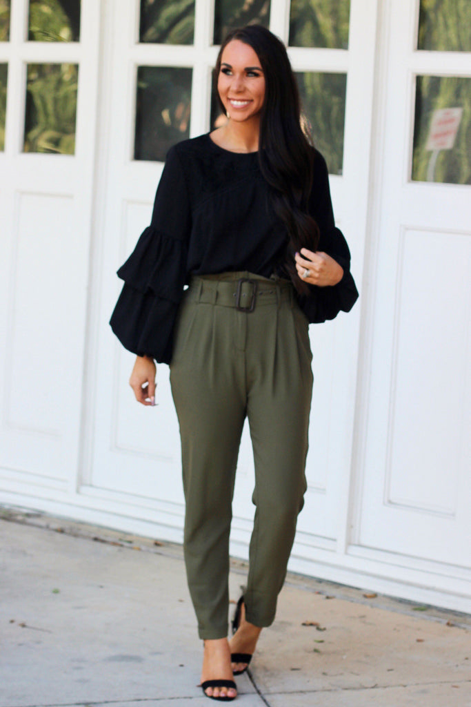 Get to Work Pants: Olive - Bella and Bloom Boutique
