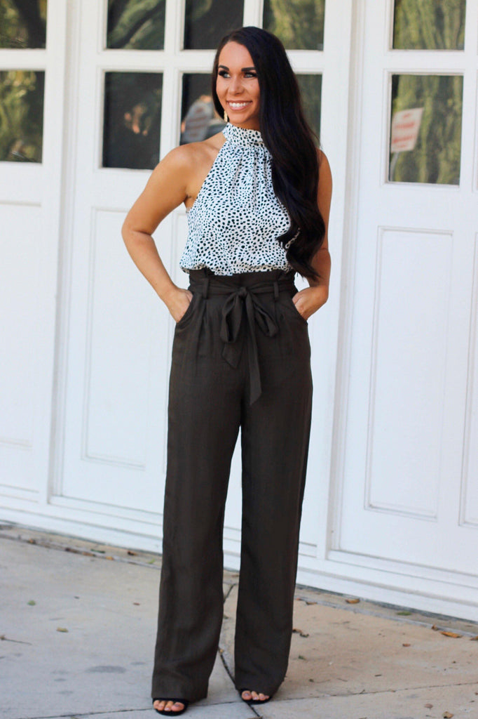 Workplace Chic Pants: Dark Olive - Bella and Bloom Boutique