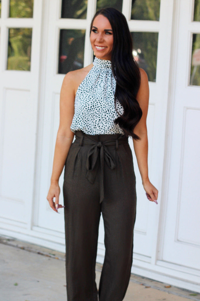 Spotted Chic Top: Ivory - Bella and Bloom Boutique