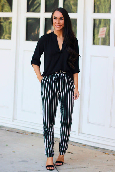 RESTOCK: All About Stripes Pants: Black/White - Bella and Bloom Boutique