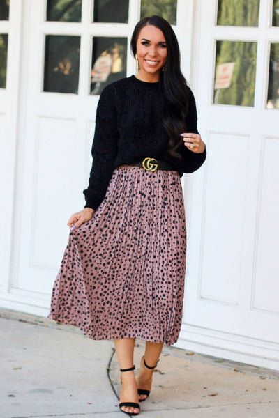 RESTOCK: City Girl Chic Midi Skirt: Mauve - Bella and Bloom Boutique