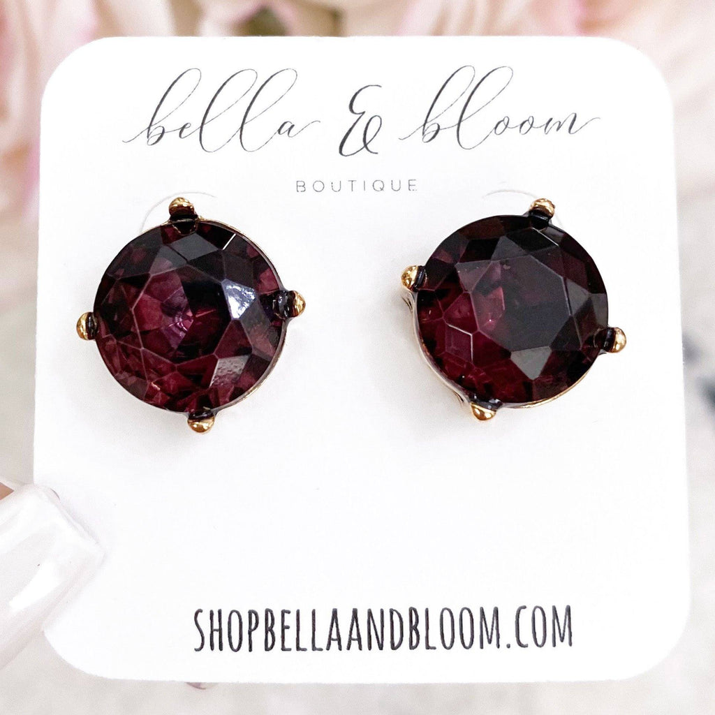 Classic Oversized Stud Earrings: Plum - Bella and Bloom Boutique