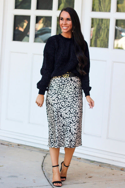 Queen of Chic Midi Skirt: Black/Taupe - Bella and Bloom Boutique