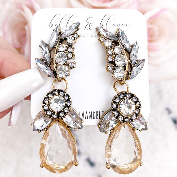 RESTOCK: Katlyn's Bridal Earrings: Champagne/Crystal - Bella and Bloom Boutique