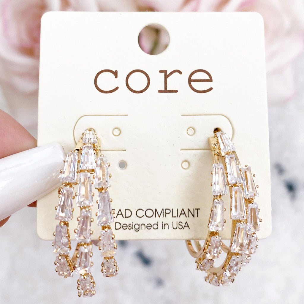 Multi-Embellished Hoop Earrings: Gold - Bella and Bloom Boutique